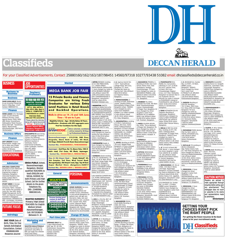 Deccan Herald Astrology Mysore Classified Ad Booking