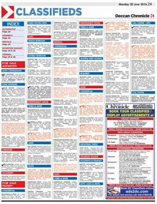 Deccan Chronicle Hyderabad Advertisement Booking Centre